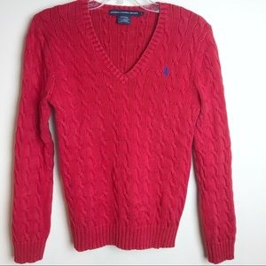 Ralph Lauren Sport Red Cable Knit V Neck Sweater L